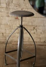Old Drugstore Style Metal Vintage Bar Stool Spinning Seat w/ Adjustable Height