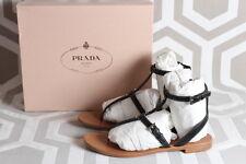 NIB Prada T Strap Cage Sandal Nero Black 40.5 $595  Flat Shoes Calzature Donna