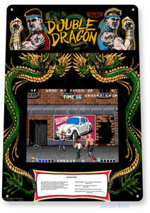 Double Dragon Arcade Sign, Classic Arcade Game Marquee, Game Room Tin Sign A336