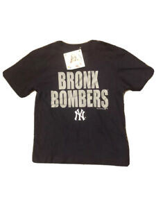 Kids New York Yankees Tee Bronx Bomber Short Sleeve Crew Neck Size M 5-6 T-shirt