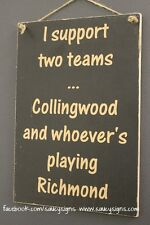 Collingwood Magpies versus Richmond Aussie Rules Football Sign Bar Shed Man Cave