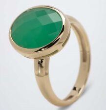 X194 Ring 375er Gelbgold Chrysopras grün 4ct RW18