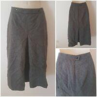 True Vintage 70s Grey Wool Boho Long A Line Smart Midi Skirt 10 Lined Pleated