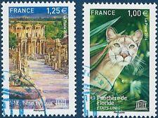 SERVICES UNESCO n° 166 à 167 de 2016  OBLITÉRÉS 1er jour
