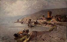 RÜDESHEIM Rhein in Hessen AK um 1910 Künstlerkarte Mann Boot Ufer Burg Blick