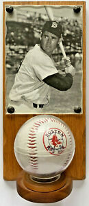 VINTAGE TED WILLIAMS PHOTOGRAPH AND BOSTON RED SOX BASEBALL ON WOODEN PLAQUE