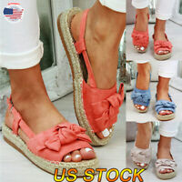 Womens Ankle Strap Flatform Wedges Shoes Espadrilles Summer Bow Platform Sandals