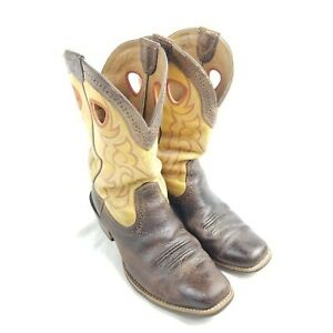 Ariat Rawhide Square Toe Cowboy Western Boots Brown Tan Sz 8.5 EE WIDE 10006864