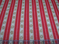 3 Yards Cotton Flannel Fabric - Henry Glass Cookies & Cocoa Gingerbread Stripe R
