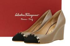 NEW SALVATORE FERRAGAMO LADIES LEATHER LOGO CHAIN WEDGE PLATFORM SHOES 10.5 C