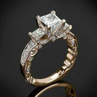 Princess Cut White Topaz 18K Yellow Gold Ring Wedding Women Fine Jewelry Sz 6-10