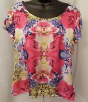 Attention Womens Pink Purple Yellow White Black Floral Shirt Top Blouse Size XL