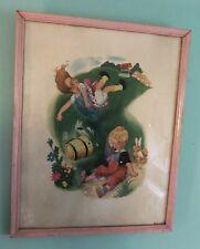 Mother Goose Vintage Jack & Jill Rhymes Nursery Penn Prints NY 1940s with Frame