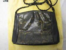 Vintage FENDI snake print & leather shoulder bag w/ braided chain strap