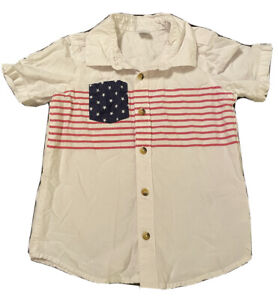 Toddler Boy Old Navy White Button Up Shirt w/American Flag - Size 5T, Pre-Owned
