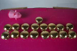 17 x vergoldete Knöpfe Möbel Griffe Knauf Metall Möbelknopf schwer   M14