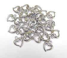 Heart Bead Silver Heart Charm Hollow 16 mm 30 pcs DIY Jewelry Making