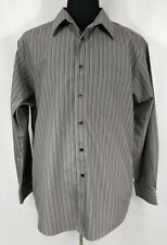"Murano Mens Long Sleeve Dress Casual Shirt 17.5 Neck Gray Purple 23"" Chest"
