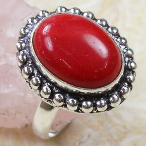 Red Coral 925 Silver Plated Handmade Gemstone Ring US Size 7 Ethnic Gift