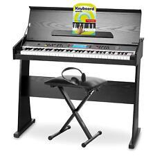 Pianoforte Digitale 61 Tasti 128 Voci Nero Supporto Panchetta Pedali