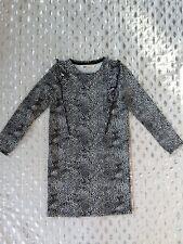 H&M long sleeve black ruffled pencil dress sz 4-6