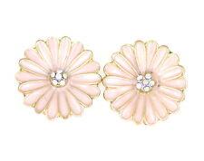 Super belli carinissimi rosa e oro smalto margherita orecchini a perno,50s 60s