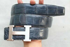 "W 1.3"" Blue Genuine CROCODILE Skin MEN'S Belt Replacement Belt No Jointed"