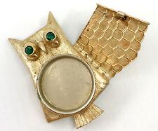 Avon Owl Solid Perfume Brooch Pin Hinged Locket 2in c1960s Vintage Gold Tone