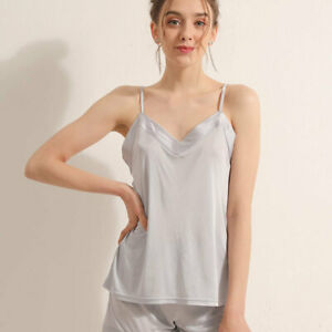 New Women's Silk Camisole Tank Tops Ladies Cami Top with Soft Satin TG03S117