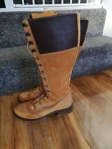 Timberland womens knee high zip / lace up boots -Wheat , size 6 UK / 39 EU 81384
