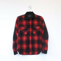 COMME DES GARCONS HOMME flannel shirt jacket red black wool corduroy collar XS