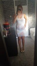 White lace flowery bodycon dress size uk8