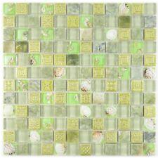 Mosaik Fliese Transluzent grün Glasmosaik Crystal Muschel -82C-0502_b