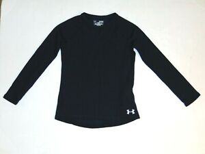 under armour girl's waffle long sleeve shirt top youth  small cotton black