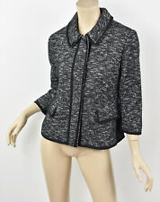 NWT ANN TAYLOR Textured Cotton & Wool Tweed Piped Trimmed 3/4 Sleeve Jacket M 6