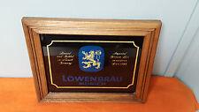 Vintage Lowenbrau Sign - Wood Frame Glass Face Glitter Sparkle Look