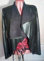 LABEL Black Faux LEATHER PU WATERFALL JACKET uk12eu38us8 Chest c42ins c107cms