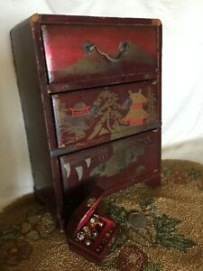 """Vtg Wood Dollhouse Asian Dresser Chest Drawers Lacquer Painted +Jewelry Box 6.5"""""""