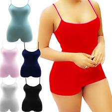 Women Lady Sleeveless Short Romper Jumpsuit Bodysuit Stretch Leotard Top Blouse