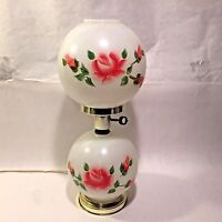 "Vtg Double Globe GWTW Electric Hurricane Table Handpainted Red/Pink Roses 18"" T"