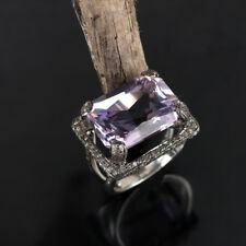 Amethyst Rectangular Gemstone Ring 925 Sterling Silver Diamond Pave Fine Jewelry