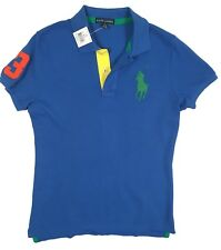 L /& XL XS Ralph Lauren Donna Banner BIG PONY the SKINNY POLO MAGLIA POLO TG