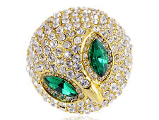 Fashion Silver Crystal Rhinestone Scary Curious Green Clear Diamante Chick Ring