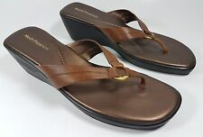 Hush Puppies brown leather low wedge sandals uk 7.5 Eu 41