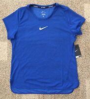 Size Large  L Nike Aeroreact Womens Running Shirt Top Blue Dri-FIT 920778-455