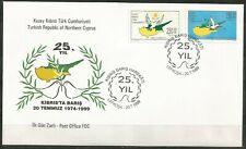 1999 TURKEY 25th ANNIVERSARY OF PEACE OPERATON IN TURKISH CYPRUSMAP BIRD FDC