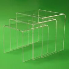 Clear Acrylic Plastic Nest of 3 Tables Bedside Table Coffee Table End Table