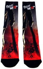 FRIDAY THE 13TH JASON MACHETE SPLATTER SUBLIMATED ALL OVER PRINT MENS CREW SOCKS