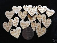 Personalised Engraved Wooden Wedding Favours Scatter Hearts Table Decor