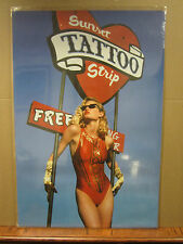 Vintage Sunset Tattoo Car Garage poster man cave hot girl 1991  1778